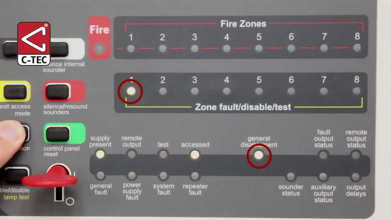 How to disableenable zones and other functions on a CFP fire alarm panel  YouTube