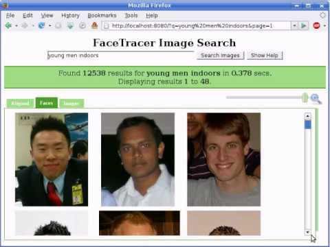 facetracer a search engine for large collections of images with
