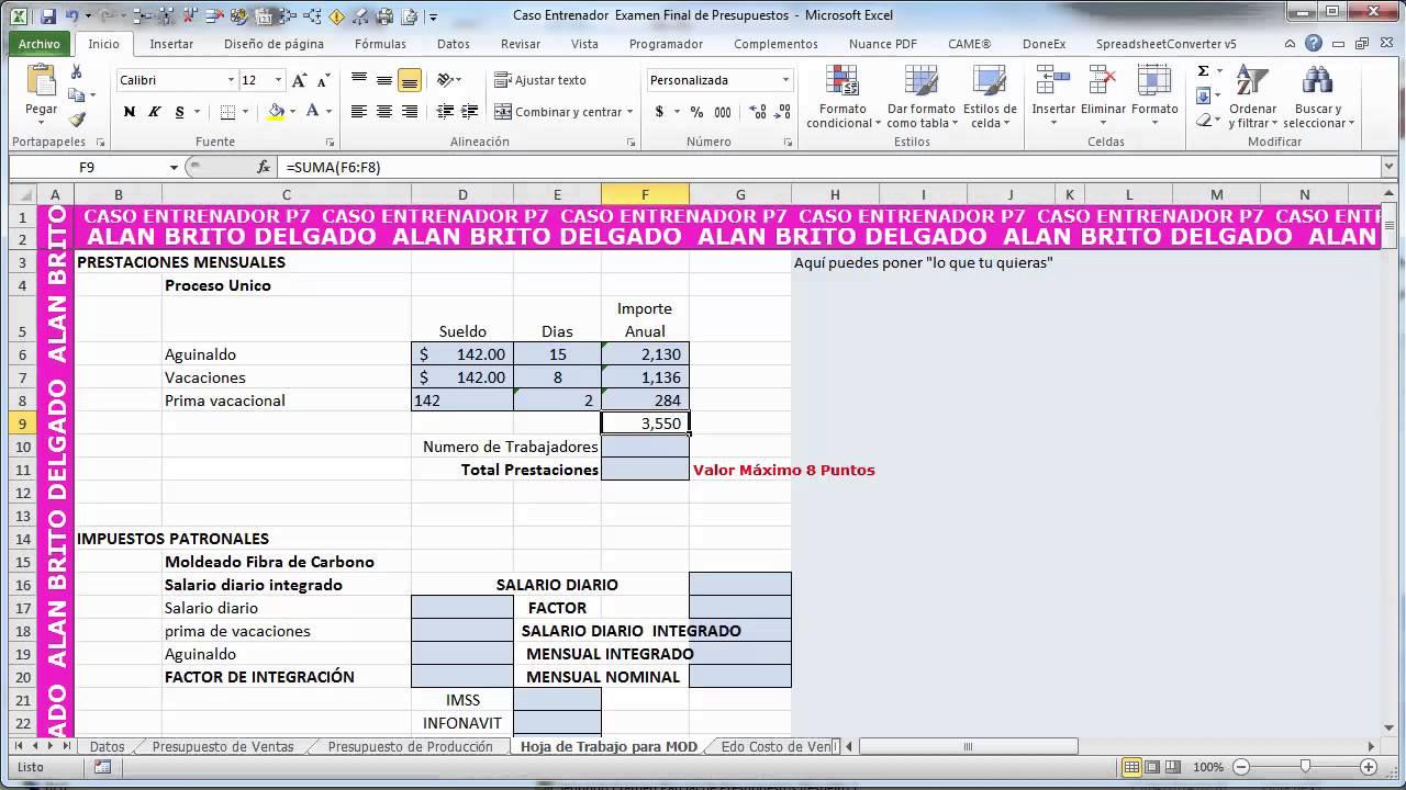 Clase 5 presupuesto de mano de obra directa youtube - Como hacer presupuesto de obra ...
