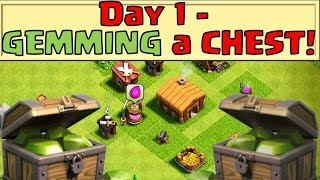 Clash of Clans - How far does a CHEST OF GEMS go!? (Day 1+)