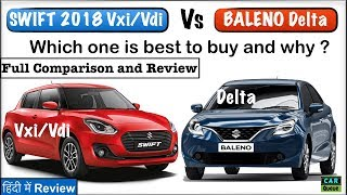 Swift 2018 Vxi/Vdi Vs Baleno Delta Model Full Comparison - Which One To Buy and Why? Video