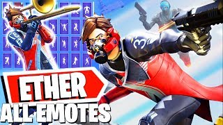 ETHER Fortnite Skin with all Dances & Emotes combos