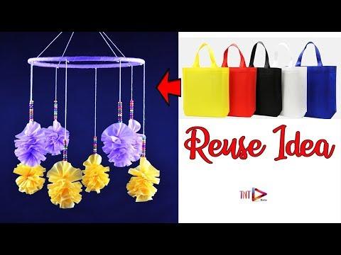 How To Make A Jhumar Using Carry Bag | শপিং ব্যাগ দিয়ে সুন্দর আইডিয়া | DIY Wind Chime