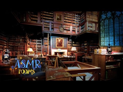 Harry Potter Inspired ASMR - Hogwarts Library - 3D soundscape white noise - Ambience and Animation