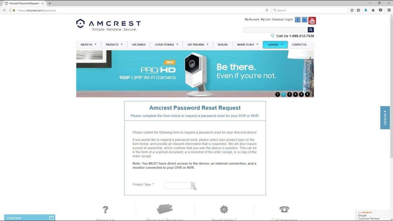 Amcrest DVR and NVR - Password Reset Request Form