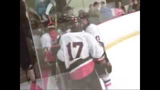 HOCKEY  bully hits 2 guys after goal   WHITE BEAR number 7
