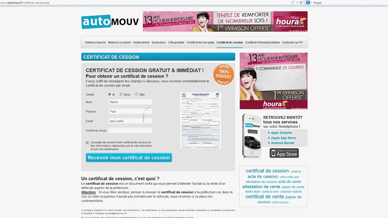 certificat de cession youtube