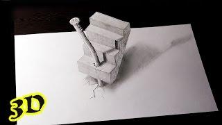 Как нарисовать  3D рисунок карандашом на бумаге ЛЕСТНИЦА(Хотите увидеть, как рисуется простой рисунок 3D ? Тогда это видео для вас. music: Crystals;Pump;Club_Thump (Youtube Music Audio Library)..., 2015-04-04T13:06:06.000Z)