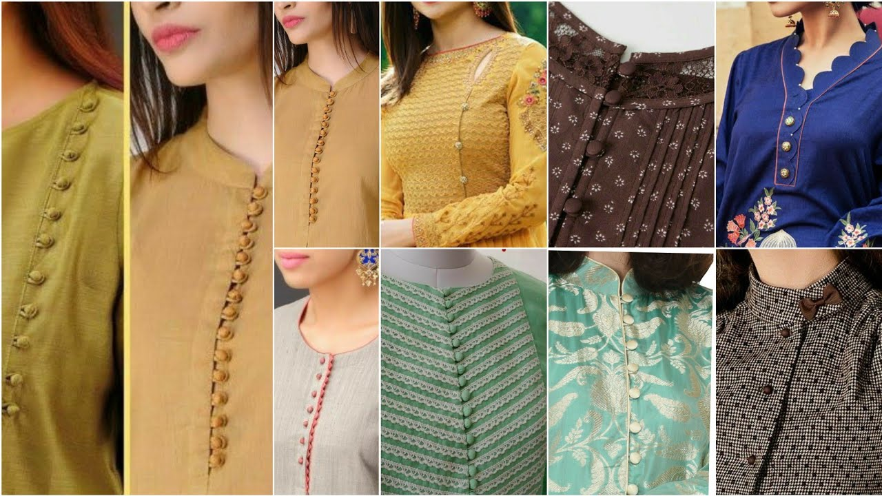 Latest Neck Designs with Buttons/fabric Button Neck Design/placket style/loops ButtonDesigns Idea