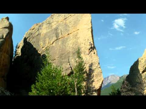 """Climbing """"Edge of Time"""" at Jurassic Park, Estes Park, Colorado"""