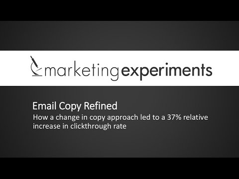 Email Copy Refined - Marketing Experiments
