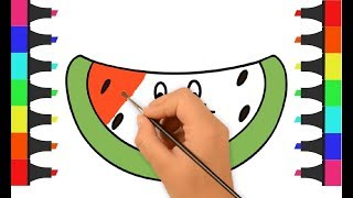 Watermelon Coloring Pages | How to Draw Watermelon | Watermelon Fruit Coloring Page | Learn Coloring