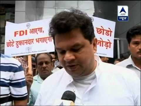 Mumbai: Shopkeepers protests in Dadar against FDI in retail