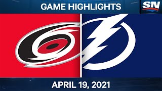 NHL Game Highlights | Hurricanes vs. Lightning - Apr. 19, 2021