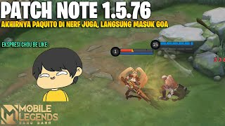 RUBY BUFF, NANA BUFF, GLOO BUFF, PAQUITO NERF , BEATRIX BUFF - PATCH NOTE 1.5.76 MOBILE LEGENDS