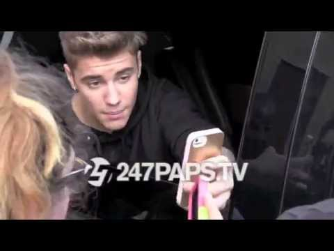 (Exclusive) Justin Bieber leaving his Photo Shoot shows love to his fans (ThrowBack)