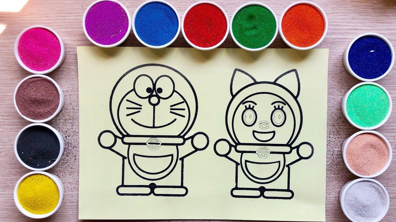 TÔ MÀU TRANH CÁT MÈO DOREMON & EM GÁI DOREMI – Colored sand painting toys – Đồ chơi Chim Xinh