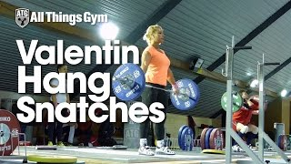 Lydia Valentin Hang Snatches Training Hall 2015 European Weightlifting Championships