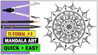 How To: Draw MANDALA ART for Beginners | Step by Step | Easy Mandala Drawing Tutorial #3