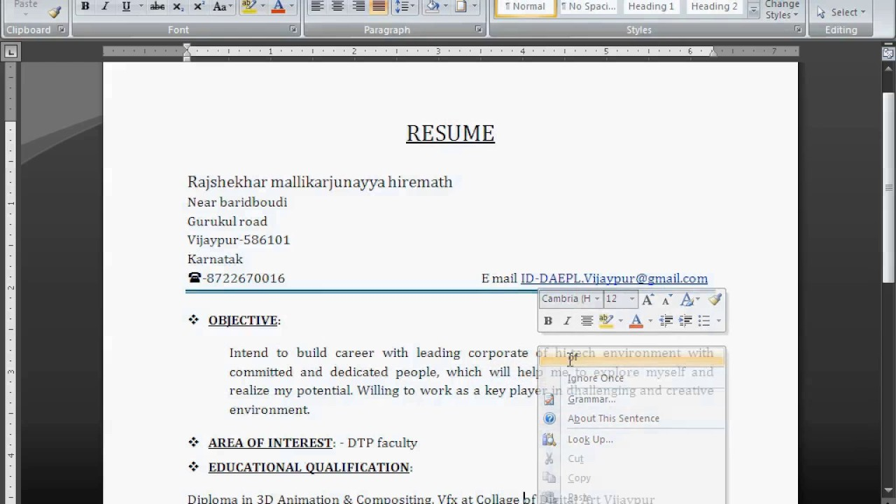 How To Create Resume In M S Word (Simple Resume)