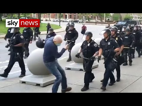 George Floyd: Entire police unit quits to back officers who shoved elderly man