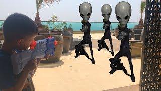NERF Game Alien vs Bogdan , Богдан против Пришельцев, инопланетяне застали нас на отдыхе