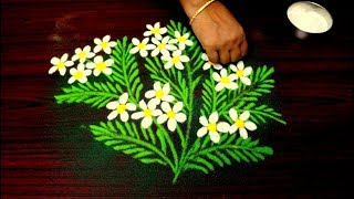 Beautiful Rangoli Design For Diwali || unique flower kolam design || line muggulu