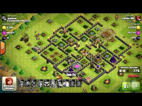 2016-Clash of Clan  Townhall 9 farming base strategy with Valkyrie and Golem | New Attack Strategy