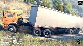 SPINTIRES 2014 - Hill Map - Truck + Curtain Trailer Struggling Uphill