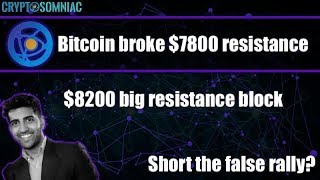 Bitcoin breaks through $7800 resistance   $8200 next?   Short or long?   Trades to watch