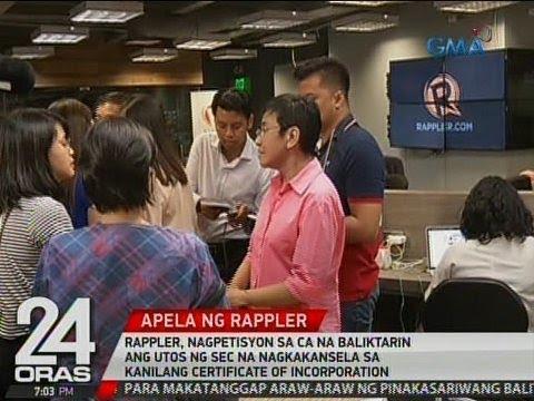 24 Oras: Rappler, nagpetisyon sa CA kaugnay sa kanilang certificate of incorporation