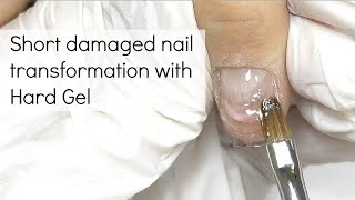 Gel nail extension on short damaged nails
