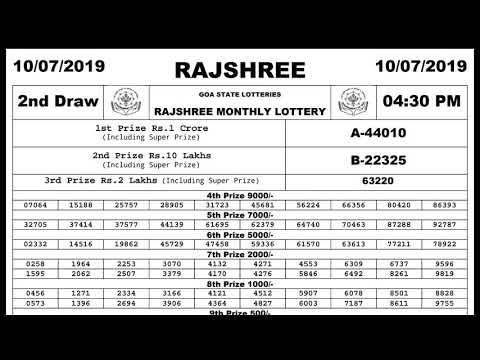 RAJSHREE MONTHLY LOTTERY 10 07 2019 LIVE RESULTS - 04:30 PM GOA STATE  LOTTERY RESULTS TODAY LIVE