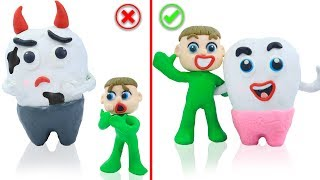 SUPERHERO BABY LEARNS BRUSHING TEETH 💖 Stop Motion Cartoons Animation