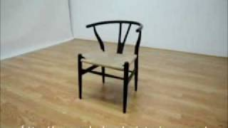 Wholesale Interiors Wishbone Chair - Black Wood Y Chair