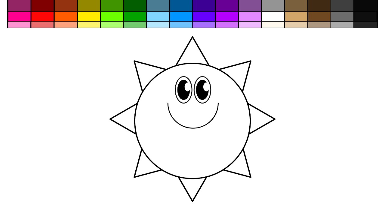 learn colors for kids and color rainbow and sun coloring page