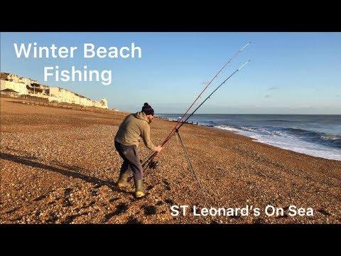 WINTER BEACH FISHING ST LEONARDS ON SEA 2019