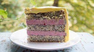 Маковый торт с ягодным муссом