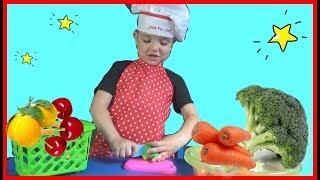 Макар учит названия овощей на английском Видео для малышей
