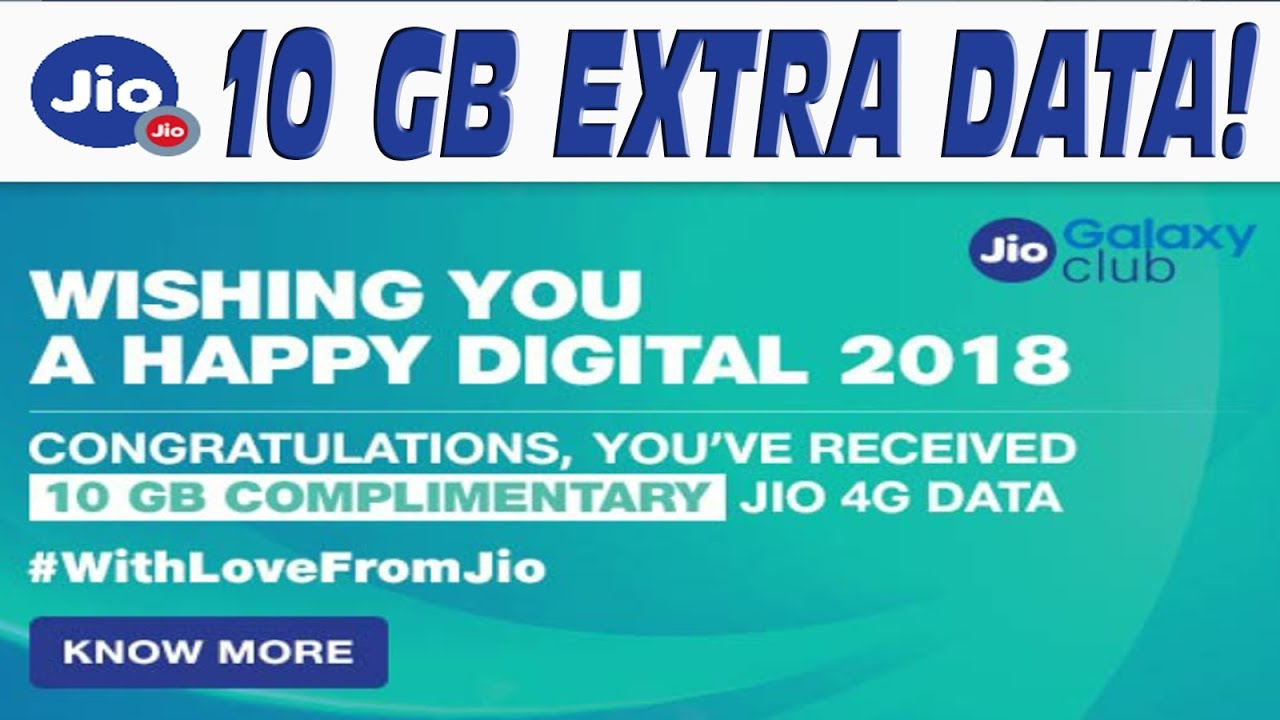 Jio giving away 10GB additional data as a token of appreciation to its users