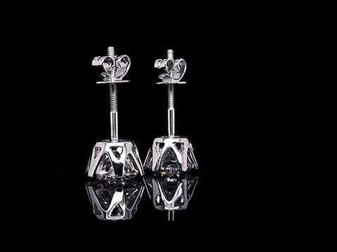 14K White Gold Moissanite Stud Earrings For Women