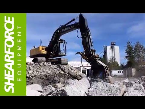 ShearForce SP20V Concrete Pulverizer At Work Crushing Concrete