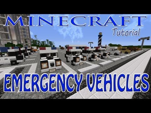 Minecraft Emergency Vehicles Tutorial (Police Cars, Ambulance, Police Buses and Rescue Heli)