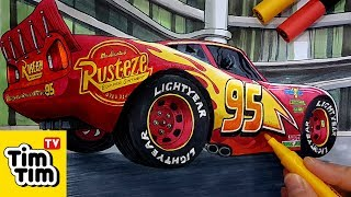 How to draw CARS 3 Lightning McQueen at Rust-eze Racing Center | Detailed Drawing For Kids