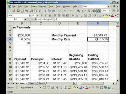 To Make A Fixed Rate LoanMortgage Calculator In Excel  Youtube