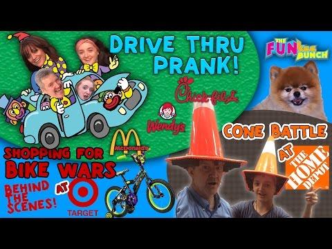 Drive Thru PRANK! Target Hunting for Bike Wars AMMO! Home depot & FUNkee Bunch RAP SONG!