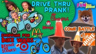 Drive Thru PRANK! Target Hunting for Bike Wars AMMO! Home depot & FUNkee Bunch RAP SONG!(Drive Thru PRANK time! The FUNkee Bunch takes off to SEVERAL DIFFERENT DRIVE THRU