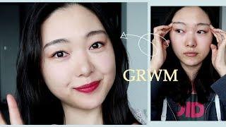 눈꼽떼자마자 GRWM | 세미매트 글로우 + 레드립 |…