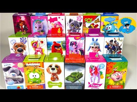 18 Игрушек Сюрпризов,Unboxing Sweet Box Surprise Angry Birds,My Little Pony,Cut the Rope