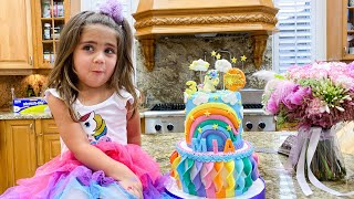 Nastya Exercises and eats Healthy food Mia & Mom's birthday surprises and sweets!